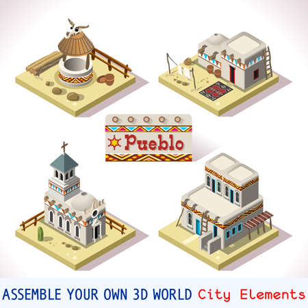 Isometric Western Rural Pueblo Basic Set Tiles Mexican Buildings. 3D Flat Vector Icon Set. Rural Building Isolated Vector Collection. Assemble Your Own 3D World