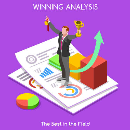 Goal Achieved. Winning Businessman. Collection Element of People Isometric Realistic Poses Set. NEW bright palette 3D Flat Vector Illustration. Exulting Businessman over a Statistic Report