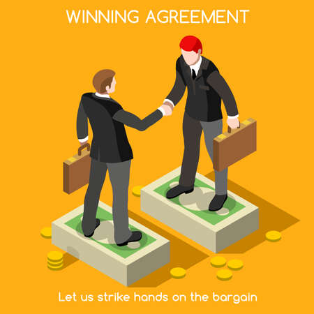 Business handshake agreement. Partnership Isometric infographic. Interacting People Unique Isometric Realistic Poses. NEW bright palette 3D Flat Vector Icon Set