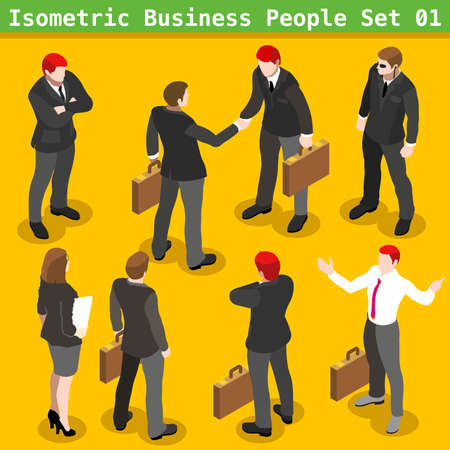 Modern Business Gestures. Corporate Agreement. 3D Flat People Big Icon Set. Businessman and Secretary Realistic Poses. Insights for Presentations or Report Last Slide Vettoriali