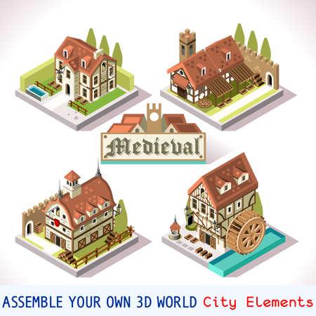 medieval: Azulejos medievales para Game Insight Online Estratégico y Desarrollo. Corte Edad isométrica plana Medio con Edificios 3D y Mill. Explora Juego Fenómenos en la Atmósfera Edad Media antiguo Bretón