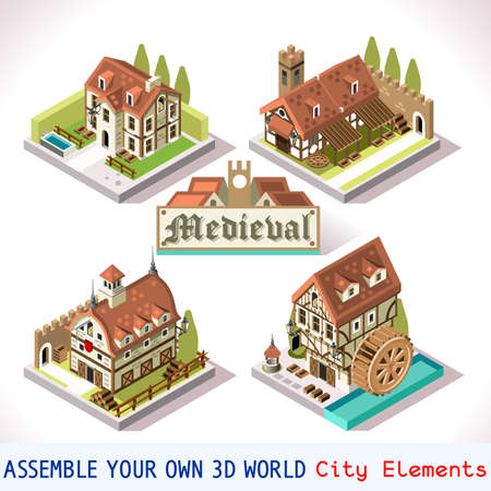 medieval: Medieval Tiles for Online Strategic Game Insight and Development. Isometric Flat Middle Age Court with 3D Buildings and Mill. Explore Game Phenomena in the Middle Ages Antique Breton Atmosphere