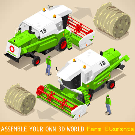bales: Isometric Green Thresher at Work in Front and Rear View. 3D Isometric Flat Style Farm Vehicle Set