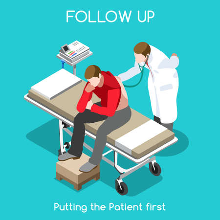 Clinic Follow Up. Patien Auscultation Visit. Disease Assistance at Hospital. Adult Male with Physician Medical Staff Diagnosing Disease. NEW bright palette 3D Flat Vector People Illustration