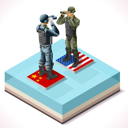 Isometrische Militar Confrontation Usa vs China in South Sea. Wargame Set Collection NEW heldere palette 3d Flat Vector Set Stock Illustratie