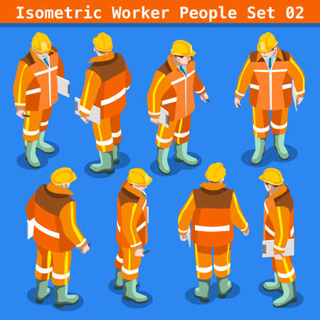 Construction Worker Collection. Blue Collar Male People in Unique Isometric Realistic Poses. NEW bright palette 3D Flat Vector Icon Set. Assemble your Own 3D World Illustration