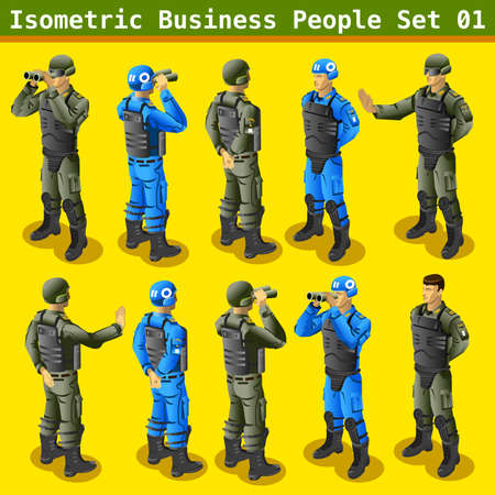 mercenary: Isometric Soldier in Realistic Poses and Gestures. Militar People 3D Flat Isometric Set
