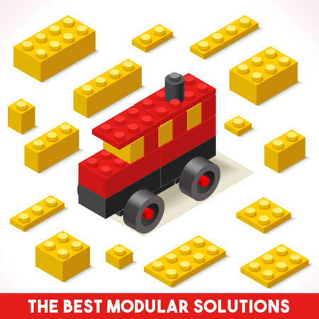modular: The Best Modular Solutions. Isometric Basic Bus Collection. Plastic Toy Blocks and Tiles Set. HD Quality Colorful and Bright Vector Illustration for Webapps Web Advertising Template icon or Banner