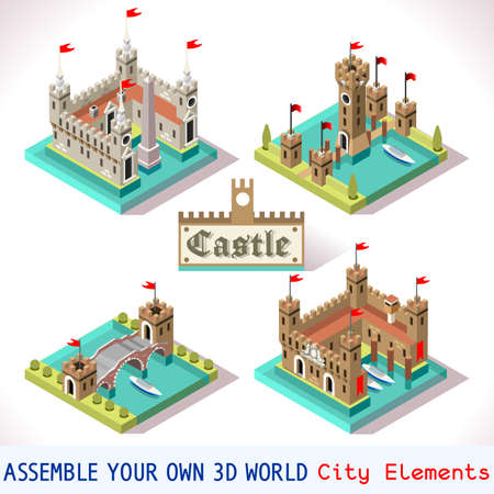 middle age: Medieval Tiles for Online Strategic Game Insight and Development. Isometric 3D Flat Middle Age Castle with Towers and Flags. Explore Game Phenomena in the Middle Ages Antique Florence Atmosphere