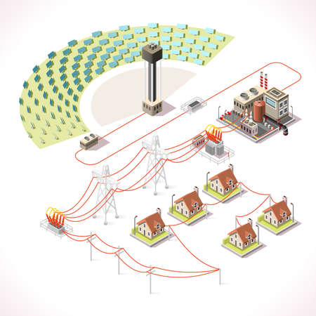 ECO: Concentrating Solar Power Systems CSP Plant Farms. Isometric Electric Power Station Electricity Grid and Energy Supply Chain. Energy Management Diagram 3d Vector Illustration