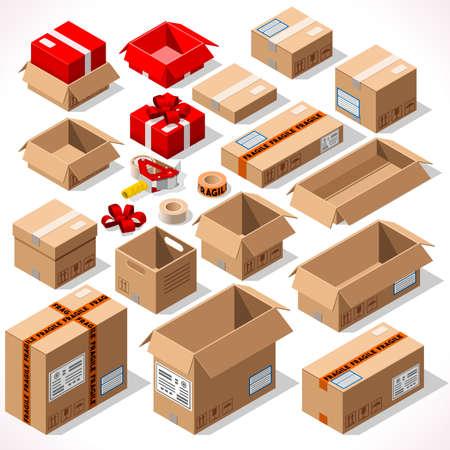 cajas de carton: Cartón Cajas Set abrió cerrado sellado con dispensador de cinta de formato grande o pequeño. Ilustración vectorial de estilo plano aislado en fondo blanco. Infografía de entrega de regalos navideños Vectores