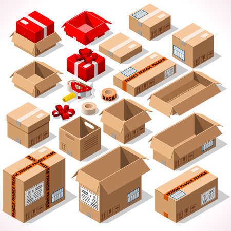 Cardboard Boxes Set opened closed sealed with tape dispenser big or small format. Flat style vector illustration isolated on white background. Delivery Infographic for holiday gift Vettoriali