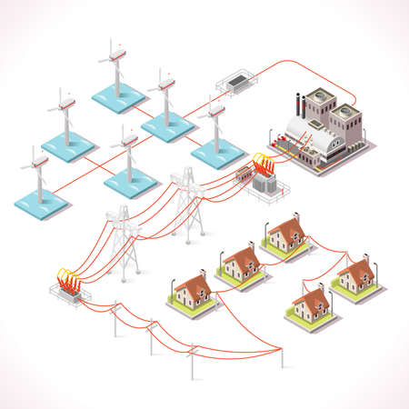 schemes: Offshore Wind Farms. Isometric Windmill Power Plant Factory Electric Power Station Electricity Grid and Energy Supply Chain. Energy Management Diagram 3d Vector Illustration