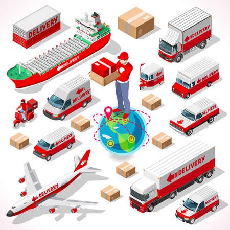 전세계 택배 개념. 새로운 밝은 팔레트 3D 평면 벡터 아이콘을 설정합니다. 배달 체인의 차량 함대 트럭 배 비행기의 전체 모음
