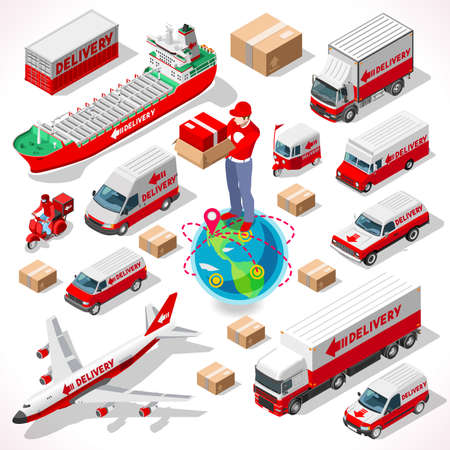 delivery service: Worldwide Express Delivery Concept. NEW bright palette 3D Flat Vector Icon Set. Complete collection of vehicle fleet truck ship airplane of delivery chain