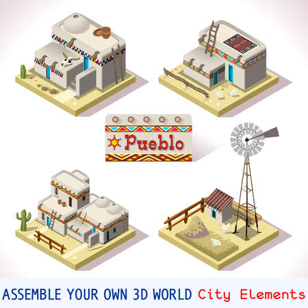 rural development: Isometric Western Rural Pueblo Basic Set Tiles Mexican Buildings. 3D Flat Vector Icon Set. Rural Building Isolated Vector Collection. Assemble Your Own 3D World