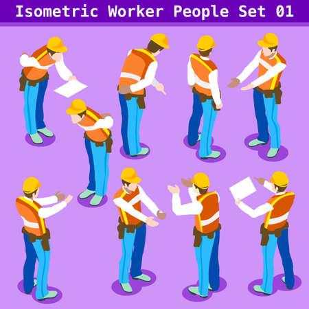 建設労働者のコレクションです。個性的な等尺性の現実的なポージングでブルーカラーのオスの人々。新しい明るいパレット 3 D 平面ベクトルのアイ
