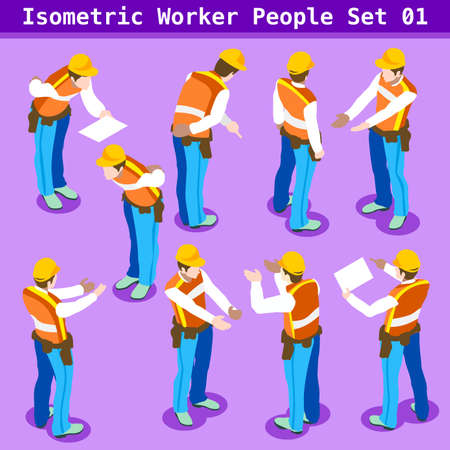 Construction Worker Collection. Blue Collar Male People in Unique Isometric Realistic Poses. NEW bright palette 3D Flat Vector Icon Set. Assemble your Own 3D World Vectores