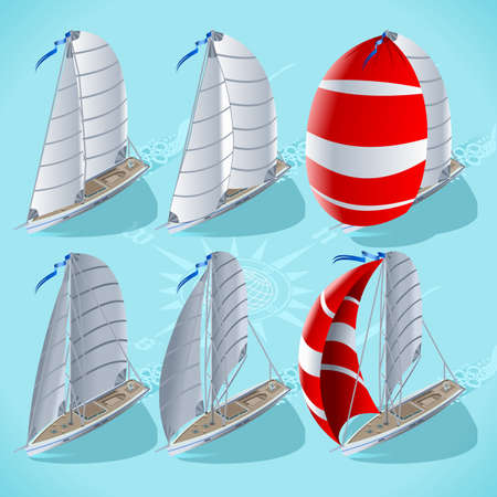 yacht: Points of Sail Isometric 3D Flat Style Set. Sail Boat Mainsail Jib and Spinnaker in Various Positions. Nautical Ship Collection to Build Regatta Infographic or Diagram
