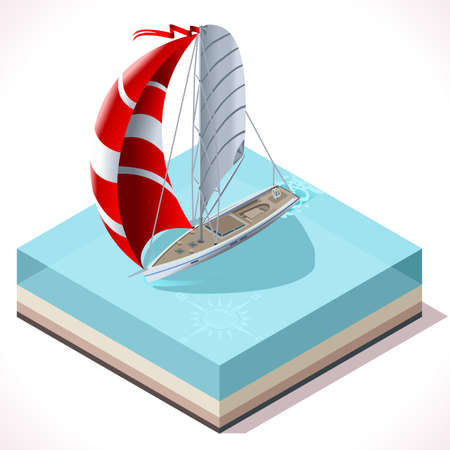 Points of Sail Isometric 3D Flat Style Set. Sail Boat Icon. Nautical Ship Collection to Build Regatta Infographic or Diagram