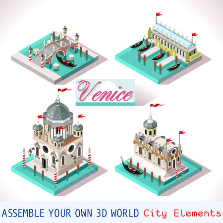 courts: Venice Palace Tiles for Online Strategic Game Insight and Development. Isometric Flat 3D Buildings. Explore Game Phenomena in the Romantic Antique Atmosphere