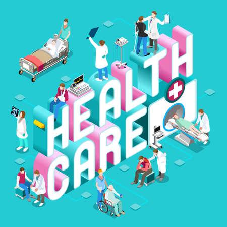 lekarz: Badania kliniczne i koncepcji opieki zdrowotnej. Clinic Szpital Wydziały Symbole i ludźmi Nowe jasne palety 3D Flat Wektor zestaw ikon. Pacjenci Lekarze Pielęgniarki Scrubs Personel i wspierać pracowników