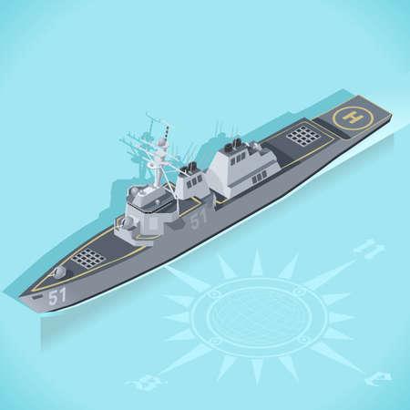 destroyer: Militar Ship 3d Flat Isometric Guided Missile Destroyer Warship Arleigh Burke Marine Militar Wargame Set