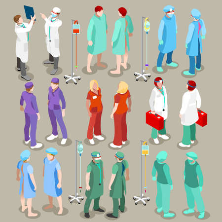 staffs: Flat 3d isometry isometric doctor patient nurse surgeon hospital icon set concept web infographics vector illustration. Healthcare medicine professionals. Creative people collection