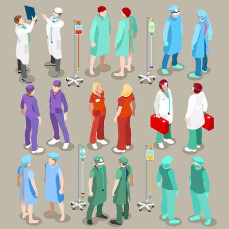 Piso 3d isometría hospital icono cirujano enfermera paciente médico isométrica establecido concepto de ilustración vectorial infografía web. profesionales de la medicina de la salud. colección de gente creativa