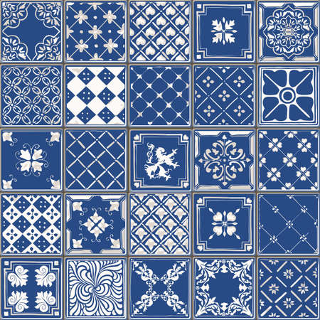 glazed: Indigo Blue Tiles Floor Ornament Collection. Gorgeous Seamless Patchwork Pattern from Colorful Traditional Painted Tin Glazed Ceramic Tilework Vintage Illustration. For web page template background
