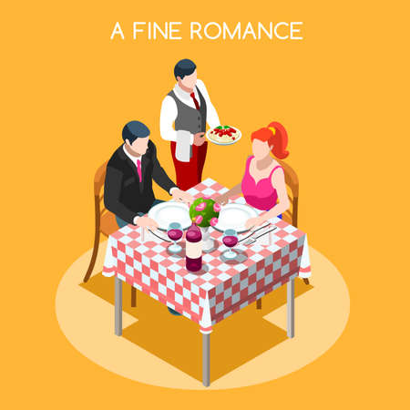 cousin: Time of Life Flat 3d Isometric Isometry Concept. Day Time Management Planning Scheduling Relations and Wellness Interior Scene. Waiter Adult man and woman at restaurant table. Creative People Collection
