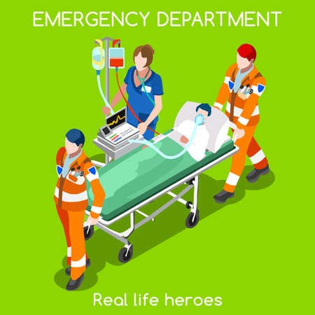 paciente en camilla: Clínica servicio de ambulancia de servicio de urgencias. Primeros auxilios y hospitalización Set. Paciente adulto en camilla llevada por el personal del hospital de la enfermera Voluntarios. NUEVA brillante paleta plana 3D Vector personas