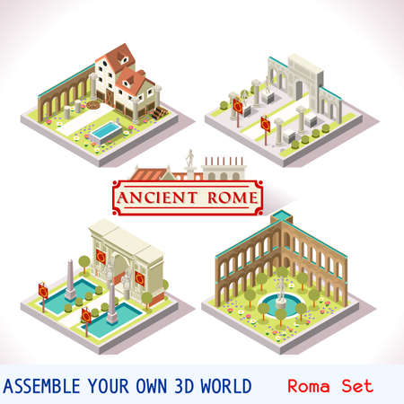 ancient rome: Ancient Rome Tiles for Online Strategic Game Insight and Development. Isometric Flat 3D Roman Imperial Buildings. Explore Game Phenomena of Rome Cesar Age Atmosphere Illustration
