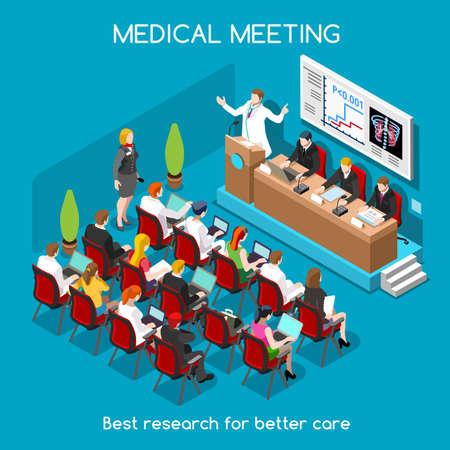 Médicos Simposio Internacional de carrera plana 3D isométrico médico Moderadores altavoz y médicos públicos y enfermeras. La gente Colección Creativa