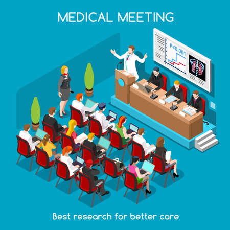 hospital dibujo animado: Médicos Simposio Internacional de carrera plana 3D isométrico médico Moderadores altavoz y médicos públicos y enfermeras. La gente Colección Creativa