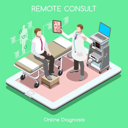 Mobile en ligne à distance médicale consulter clinique hôpital plat 3d isométrique isométrie santé de haute technologie concept intérieur illustration vectorielle. collection People homme médecin visite sur tablette Vecteurs