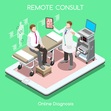 Mobile online remote medical consult clinic hospital flat 3d isometry isometric high tech healthcare interior concept vector illustration. People collection man doctor visiting on tablet device