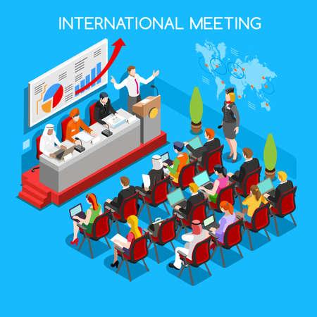 Reuniones Simposio Internacional de Negocios planos 3d isométrico taller especial de eventos Moderadores altavoz y conferencia en línea en el mundo público. La gente Colección Creativa Ilustración de vector