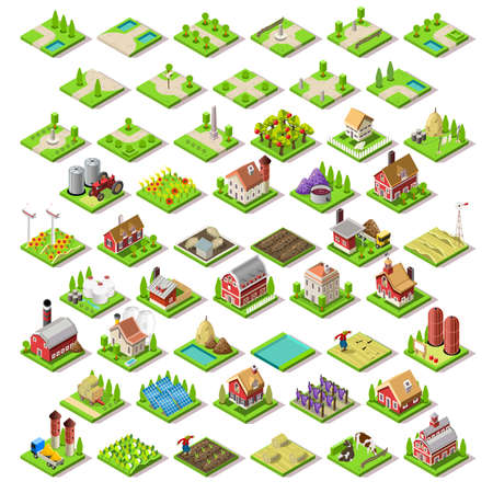 bright: Flat 3d Isometric Farm Buildings City Map Icons Game Tiles Elements Set. NEW bright palette Rural Barn Buildings Isolated on White Vector Collection. Assemble Your Own 3D World