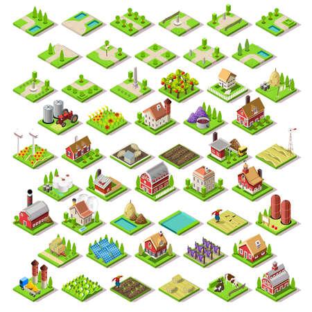 Flat 3D isometrische Farm Gebouwen City Kaart Icons Tegels van het Spel elementen instellen. NEW heldere palette Landelijke Schuur Gebouwen die op Witte Vector Collection. Monteer je eigen 3D wereld