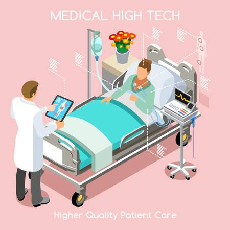 hospital dibujo animado: Enfermedad Paciente alta tecnología sanitaria rápido diagnóstico de hospitalización en el Hospital Clínica Médica. Mujer Joven cama del paciente con el doctor personal médico. NUEVA brillante paleta Vector personas Colección plana 3D