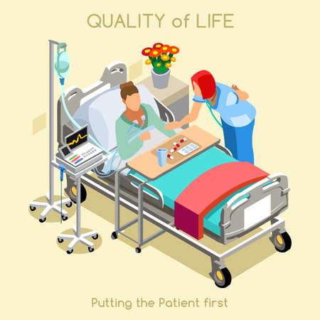 Cuidado de la salud calidad de vida como la enfermedad de Hospitalización del Hospital Clínica Médica primer objetivo del paciente. Mujer Joven cama del paciente con el personal médico de la enfermera. NUEVA brillante paleta Vector personas Colección plana 3D