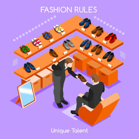 Flat 3d isometric fashion shopping abstract interior room shoes customers clients buyers workers staff bright colorful concept vector infographics. Creative business people collection. Vectores