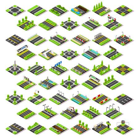 Flat 3d isometrische straat spel tegels iconen infographic begrip set. Plattegrond van de stad elementen kruispunt verkeerslichten verkeersbord brug verzorgingsplaats tankstation tolhuisje. Stel uw eigen 3D-wereld