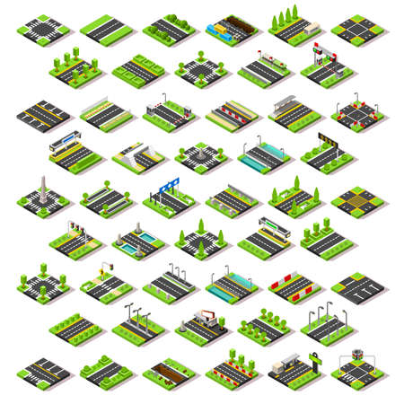 Flat 3d isometric street game tiles icons infographic concept set. City map elements crossroad traffic light road sign bridge rest area service station toll booth. Assemble your own 3D world