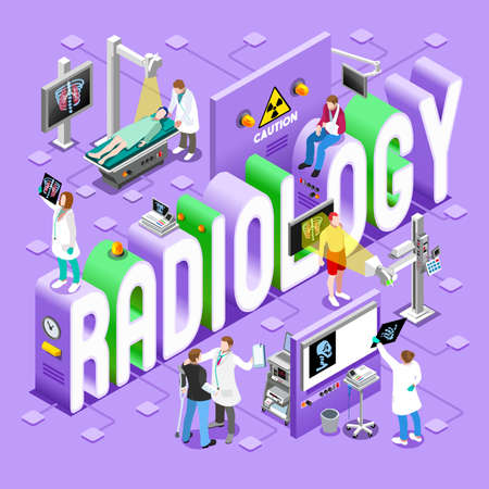 radiology: Radiology Imaging Healthcare Concept. Clinic Hospital Departments Symbols and People NEW bright palette 3D Flat Vector Icon Set. Patients Doctors Nurses Scrubs Staff and Support Workers Illustration