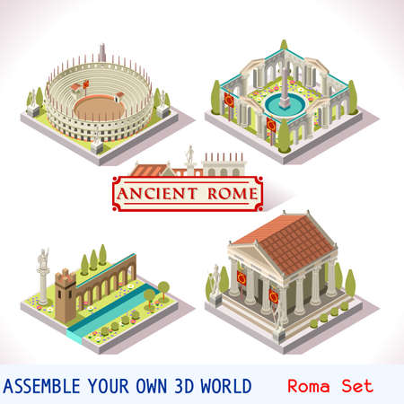 Ancient Rome Tiles pour Online Game Strategic Insight et le développement. Isométriques Bâtiments plat 3D Roman Imperial. Explorez Jeu Phénomènes de Rome Cesar Age Atmosphere