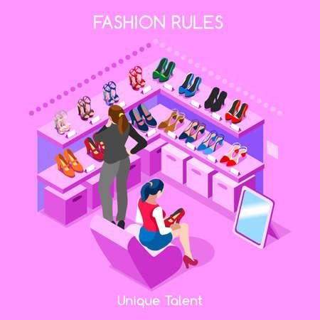 Plana de forma isométrica 3d abstracto de compras personal de la sala interior zapatos de los clientes de los clientes compradores trabajadores brillantes colores infografía vector de concepto. colección de hombres de negocios creativo. Ilustración de vector