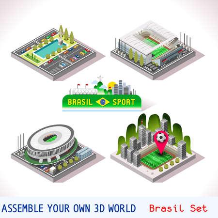 city icon: Vector isometric Stadium Sport Icon Set. Brasil Brasilia Goias Estadio National Sao Paulo Arena Corinthians. Flat 3D City Map Elements Isometry Isometric Infographic Game Tiles Collection
