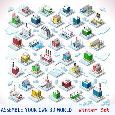 Vector isometric buildings. Winter Snow Ice Nordic Villas Private Estate Set. Flat 3D Urban City Map Isolated Elements Hotel Gardens and Other Isometry Isometric Infographic Game Tiles MEGA Collection